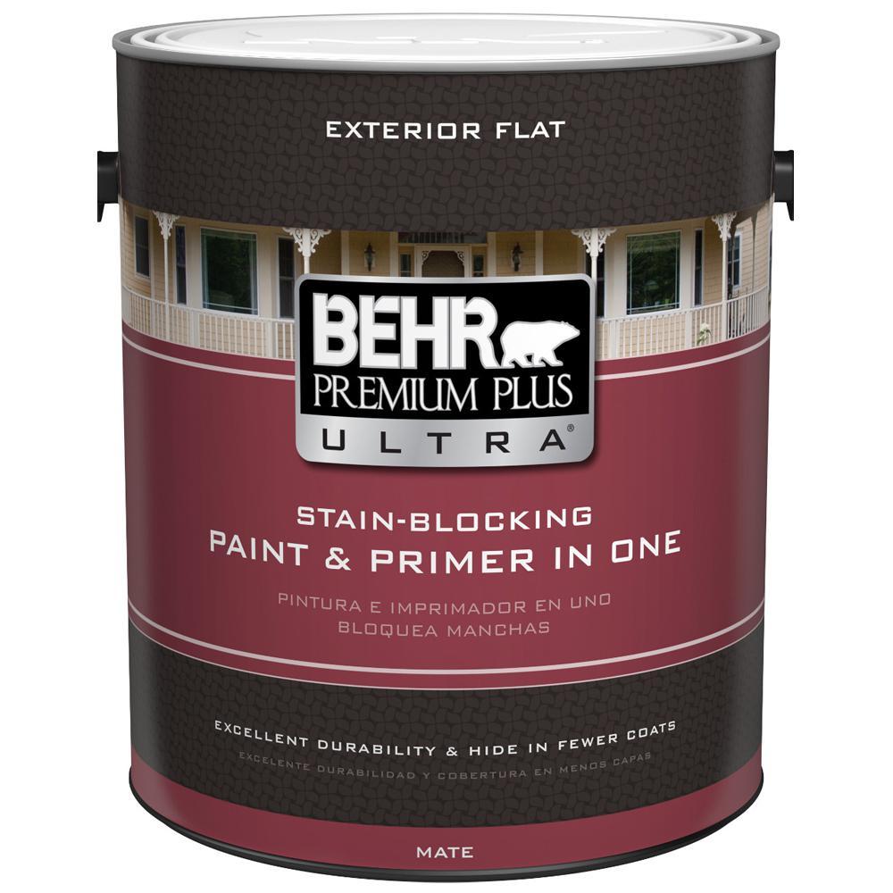 Behr premium plus ultra 1 gal medium base flat exterior - Flat or satin paint for bathroom ...
