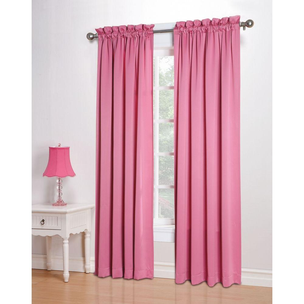 Semi-Opaque Pink Gregory Room Darkening Pole Top Curtain Panel, 54 in.