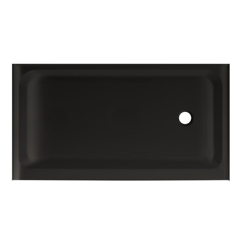 Swiss Madison Voltaire 60 in. x 36 in. Acrylic Single-Threshold Right Drain Shower Base in Black