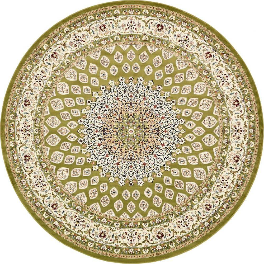 unique loom nain design green 10 ft x 10 ft round area rug 3135847 the home depot. Black Bedroom Furniture Sets. Home Design Ideas