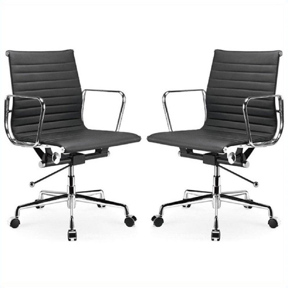 Ellwood Mid-Back Adjustable Black Office Chair (Set of 2)