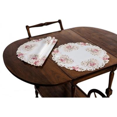 16 in. Round Blush Embroidered Cutwork Round Placemats (Set of 4)