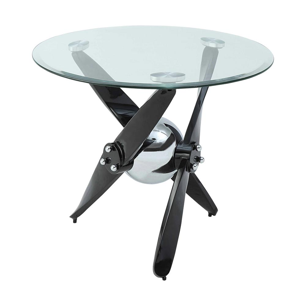 Acme Furniture Hagelin Black Chrome And Clear Glass End Table 84532