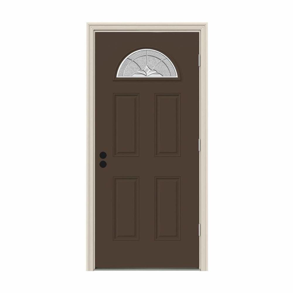 JELD-WEN 36 in. x 80 in. Fan Lite Langford Dark Chocolate Painted Steel Prehung Left-Hand Outswing Front Door w/Brickmould