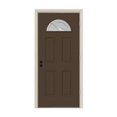 36 in. x 80 in. Fan Lite Langford Dark Chocolate Painted Steel Prehung Left-Hand Outswing Front Door w/Brickmould