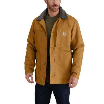 Men's Regular Medium Carhartt Brown Cotton Full Swing Chore Coat