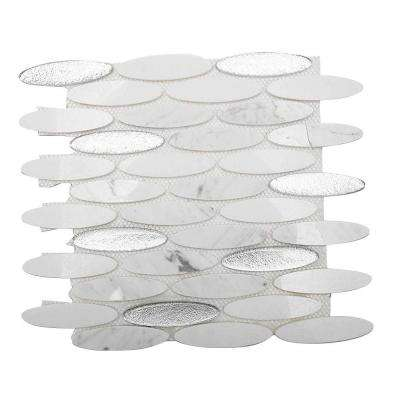 Orbit Ice Water Ovals 3 in. x 6 in. x 8 mm Mosaic Floor and Wall Tile Sample