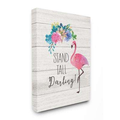 "30 in. x 40 in. ""Stand Tall Darling Flamingo Floral Watercolor on White Planks"" by Jo Moulton Canvas Wall Art"