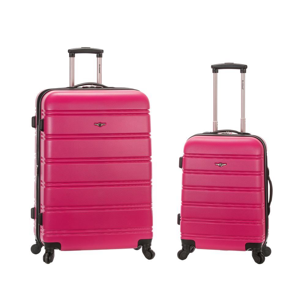 Rockland Melbourne Expandable 2-Piece Hardside Spinner Luggage Set, Magenta