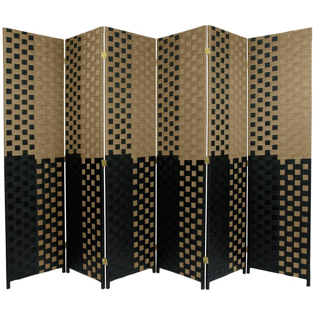 6 ft. Black and Tan Woven Fiber 6-Panel Room Divider