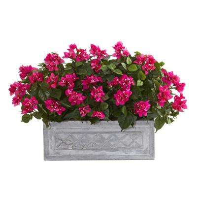 Indoor 30 in. Bougainvillea Artificial Plant in Stone Planter