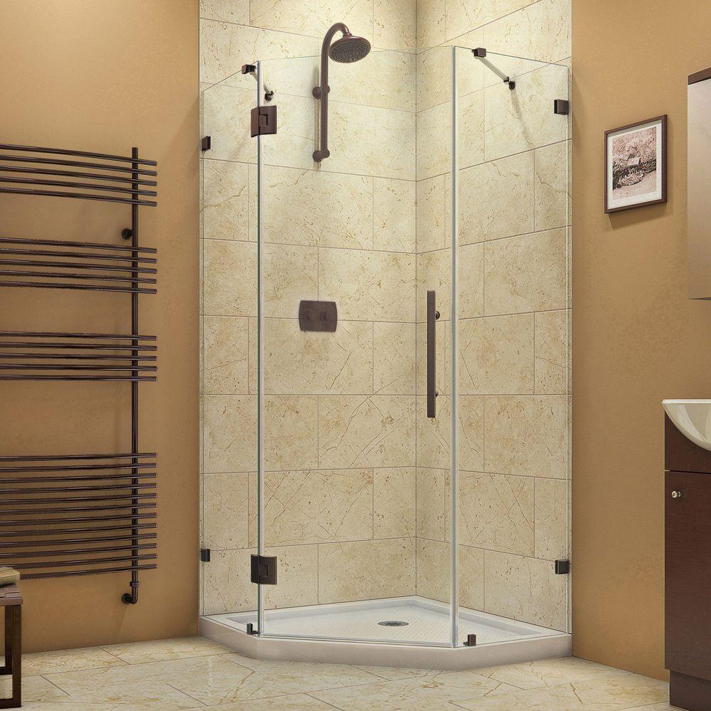 DreamLine Prism Lux 36 5/16 In. X 36 5/16 In. X 72 In. Frameless Hinged  Neo Angle Corner Shower Enclosure In Oil Rubbed Bronze SHEN 2236360 06    The Home ...