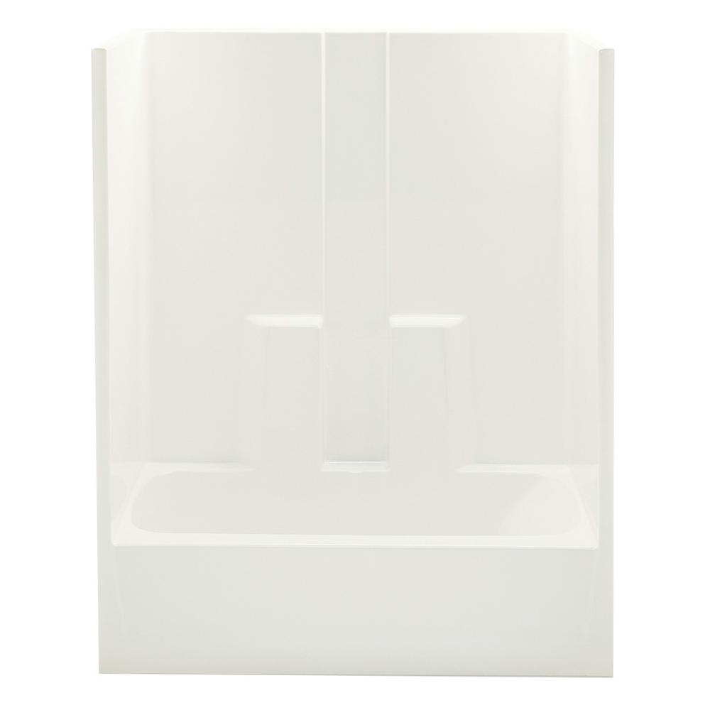 Aquatic 60 in. x 30 in. x 72 in. 1-piece Direct-to-Stud Tub/Shower ...