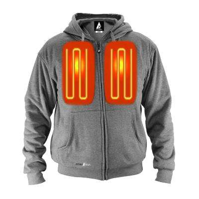 Unisex X-Large Grey Cotton Long Sleeved 5-Volt Heated Hoody