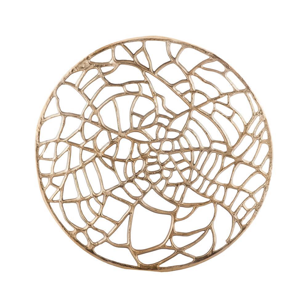 Titan Lighting 51 in. Round Aluminum Spidersilk Wall Sculpture