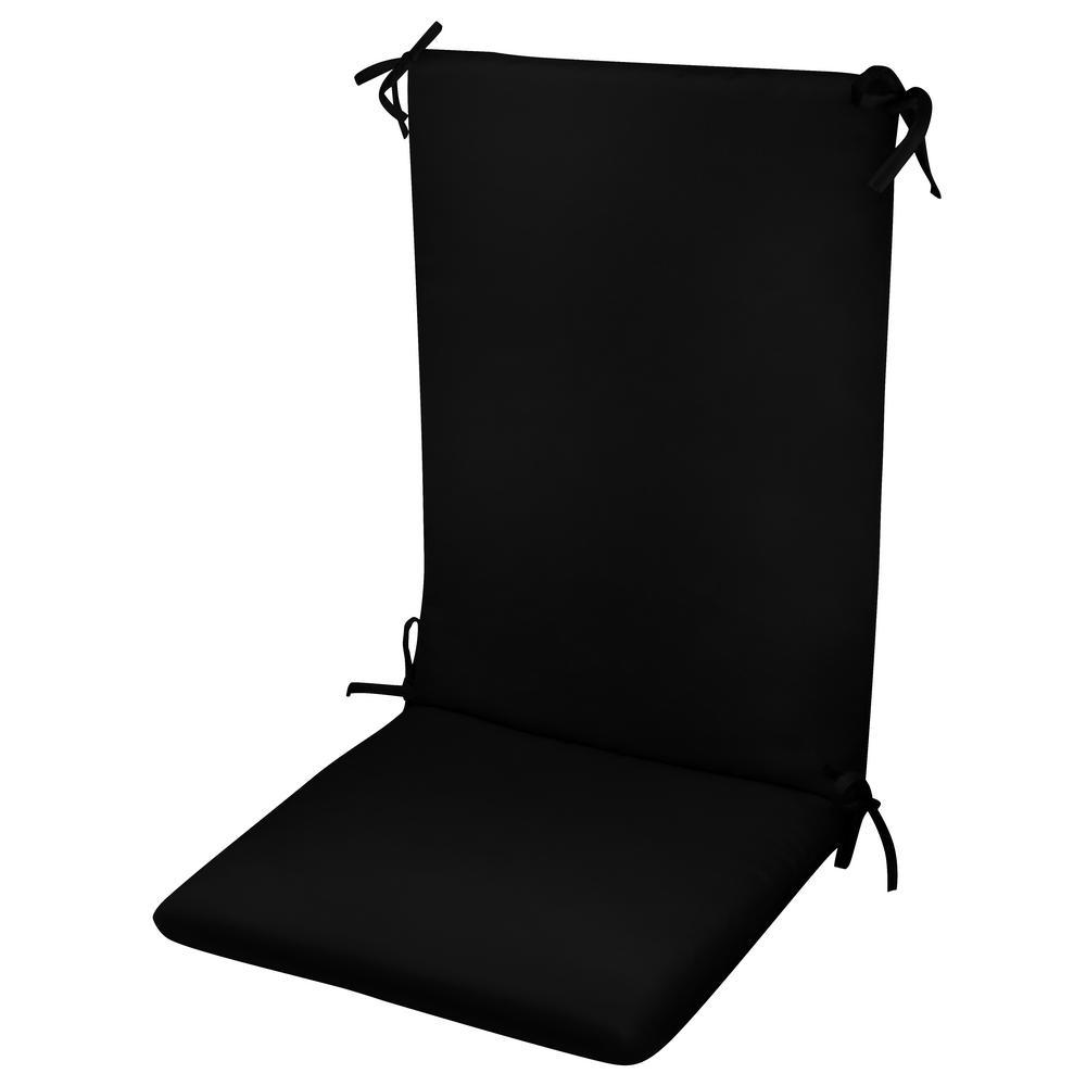 Paradise Cushions High Back Chair Cushion Knife Edge Hinged Solution Dyed Polyester Polyester Fiber Fill Black Sun Spun Fabric