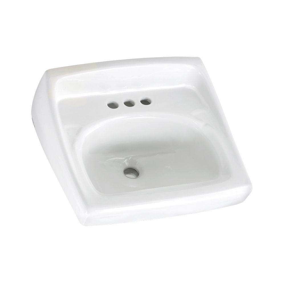 American Standard Lucerne Wall Mounted Bathroom Sink With Faucet Holes On 4 In Center
