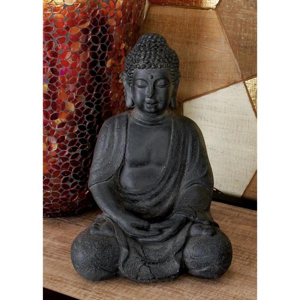 CosmoLiving by Cosmopolitan Clay and Fiberglass Gray Meditating Buddha Sculpture