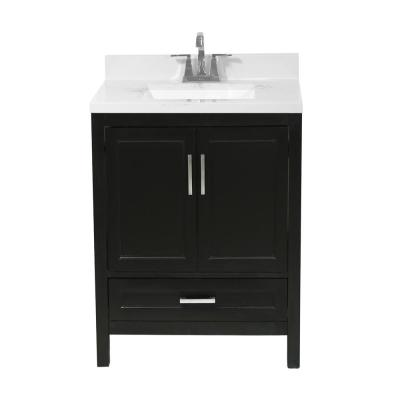 Salerno 25 in. Bath Vanity in Espresso with Cultured Marble Vanity Top with Backsplash in Carrara White with White Basin