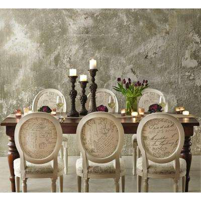 French Oval Ivory Script Upholstered Side Chair Set Of 2
