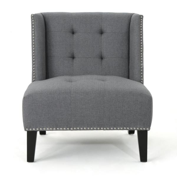 Noble House Takara Tufted Dark Gray Fabric Wingback Slipper Chair with Stud Accents