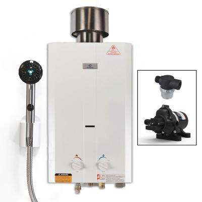 L10 Portable Gas Tankless Water Heater with EccoFlo Pump, Strainer and Shower Set