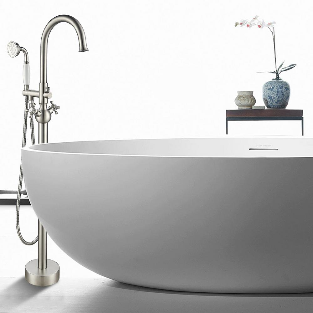 Vanity Art 48 in. H x 12 in. W Single Handle Claw Foot Tub Faucet with Hand Shower in Brushed Nickel was $309.99 now $232.49 (25.0% off)