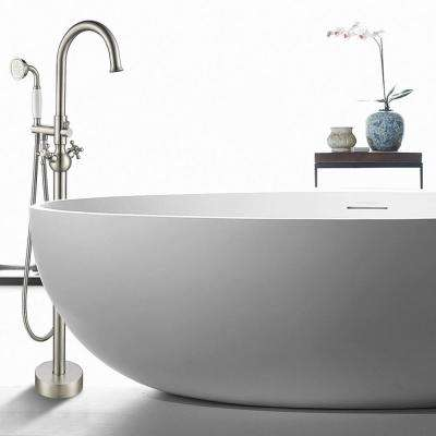 48 in. H x 12 in. W Single Handle Claw Foot Tub Faucet with Hand Shower in Brushed Nickel