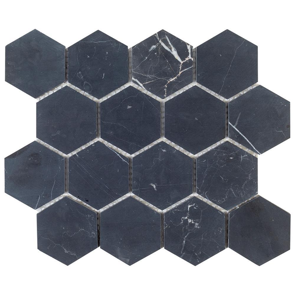 Hexagon Black Tile Flooring The