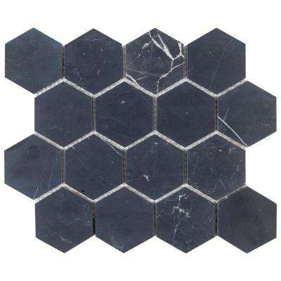 Midnight Hex Black 10.875 in. x 9.5 in. x 8 mm Honed Natural Stone Mosaic Floor and Wall Tile