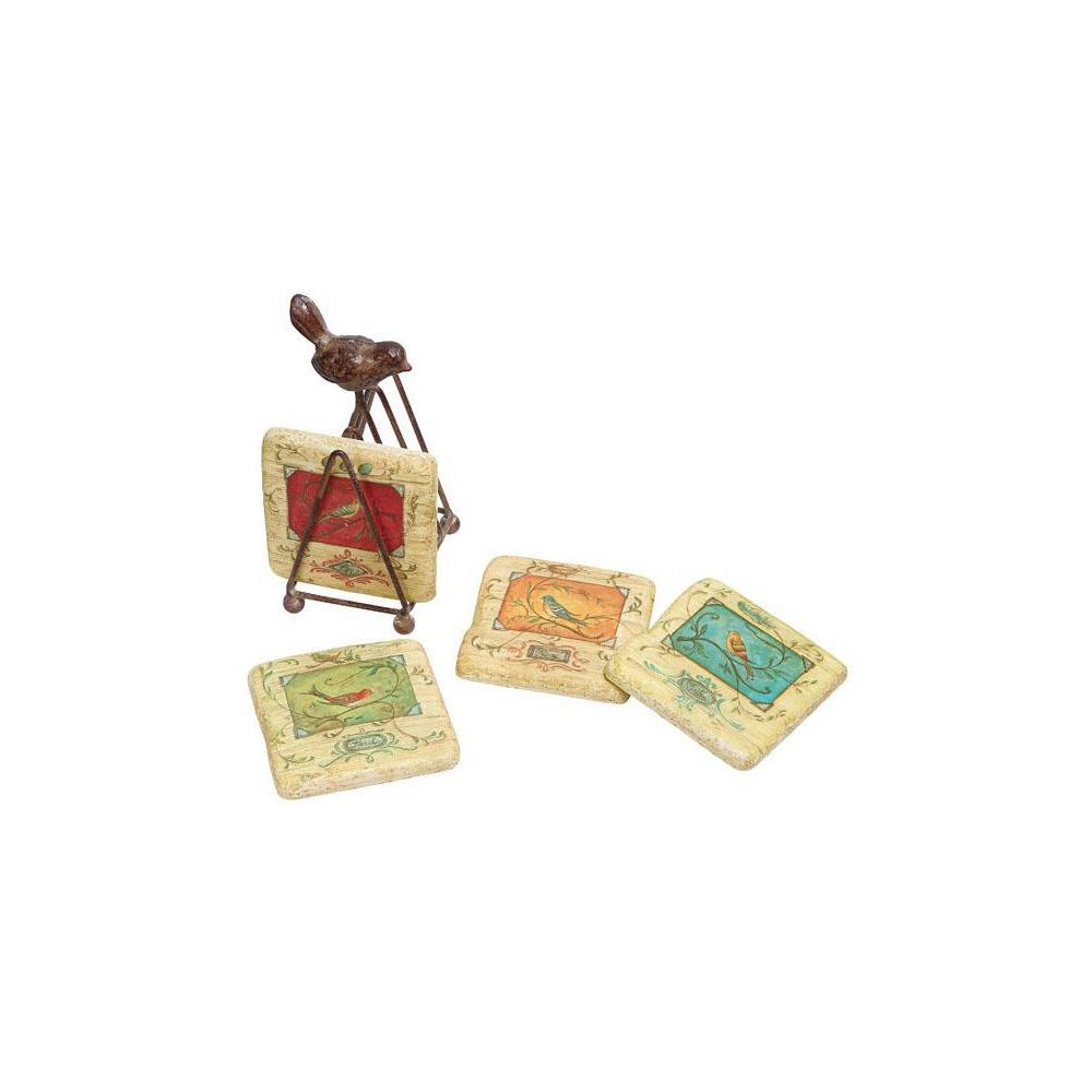Home decorators collection bird coasters in bright tones for Furniture coasters home depot