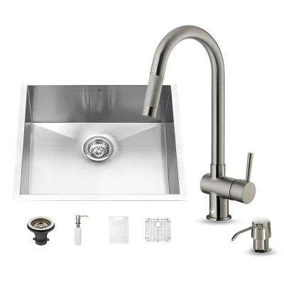 All-in-One Undermount Stainless Steel 23 in. Single Bowl Kitchen Sink in Stainless Steel