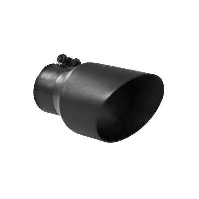Universal Tip 4.5in OD 3in Inlet 8in Length Dual Walled Angled Exhaust Tip - Black