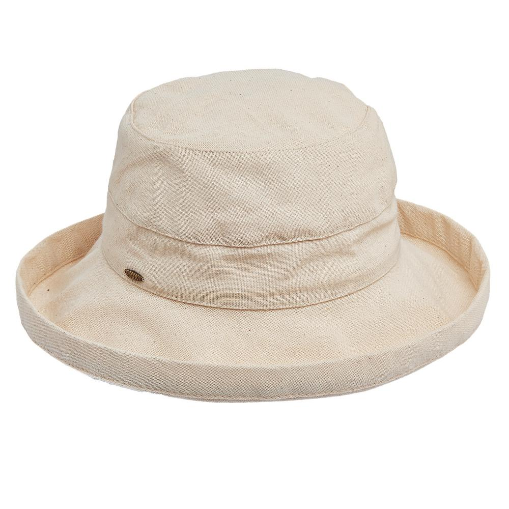 475406583a7 Scala Med Brim Cotton Hat-LC484-LINEN - The Home Depot