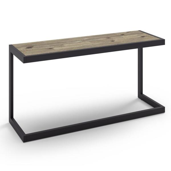 Erina Solid Acacia Wood and Metal 52 in. Wide Modern Industrial Console Sofa Table in Distressed Grey