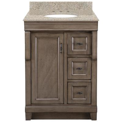 Naples 25 in. x 22 in. D Vanity in Distressed Grey with Granite Vanity Top in Beige with Oval White Basin