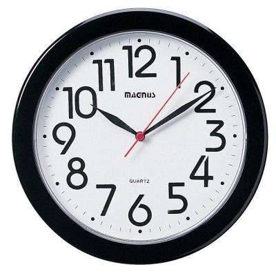 Catherine 10 in. x 10 in. Round Black Wall Clock