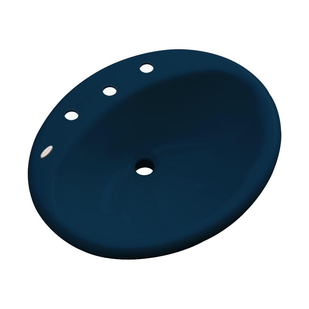 null Oceana Designer Drop-In Bathroom Sink in Navy Blue