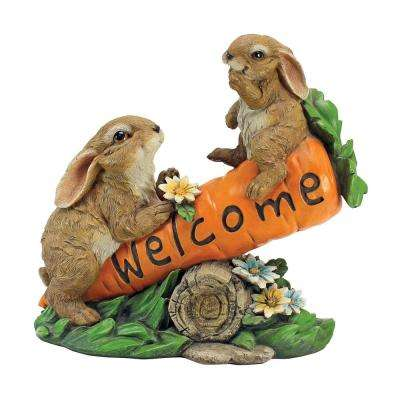 9.5 in. H Bunny Bunch Welcome Sign Statue