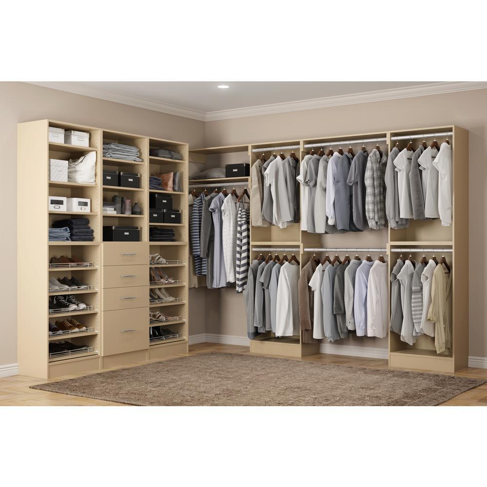 Calabria Walk In 15 in. D x 243 in. W x 84 in. H Almond Wood Closet System