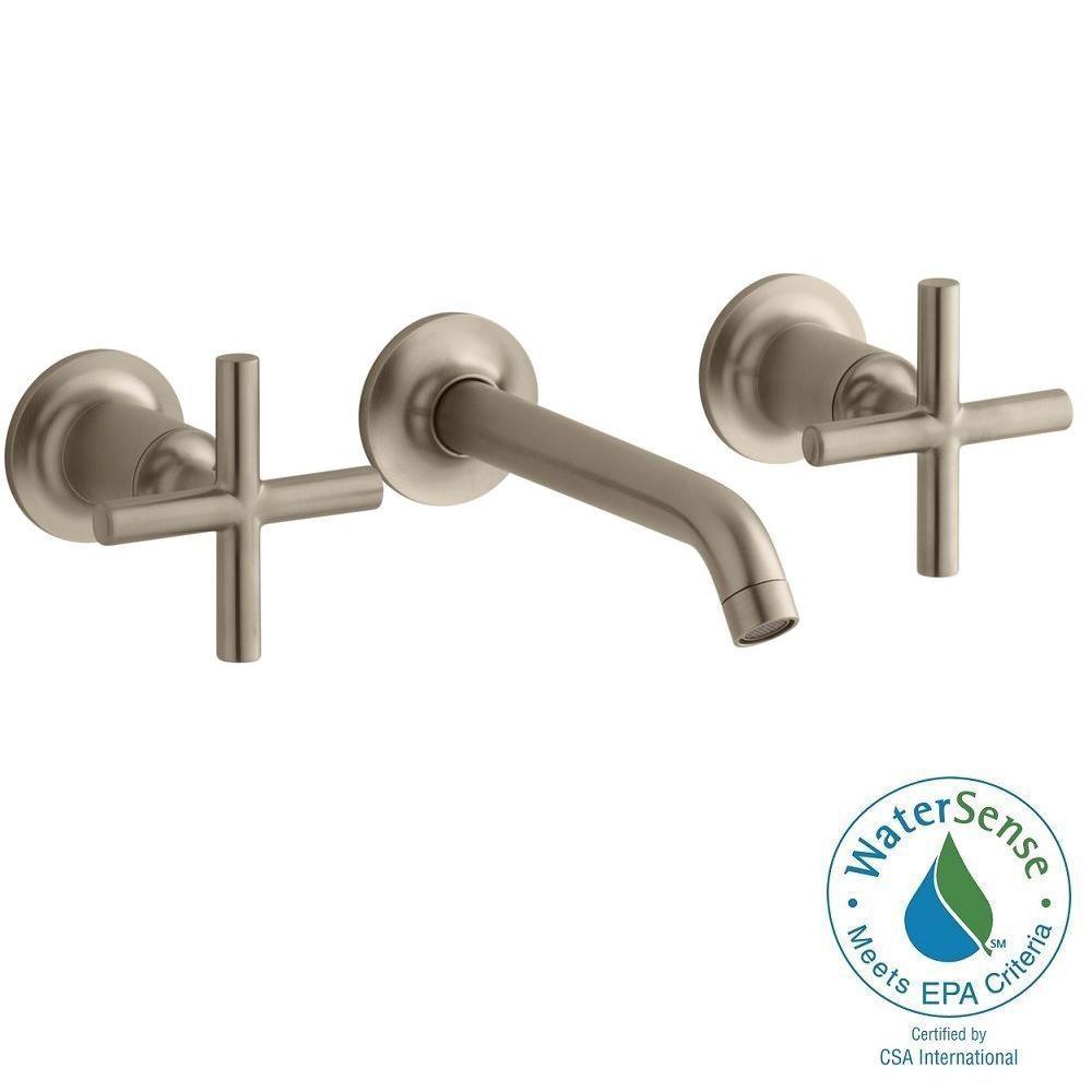 KOHLER Purist Wall-Mount 2-Handle Water-Saving Bathroom Faucet Trim Kit in Vibrant Brushed Bronze