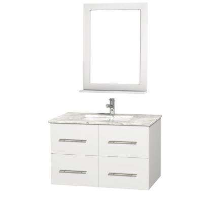 Centra 36 in. Vanity in White with Marble Vanity Top in Carrara White and Undermount Sink