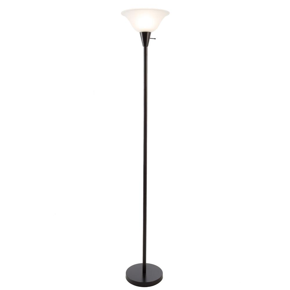 Charming Black Metal Torchiere Floor Lamp With Frosted Glass Shade