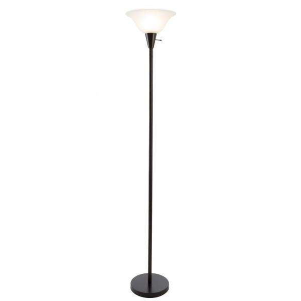 75.5 in. Black Metal Torchiere Floor Lamp with Frosted Glass Shade