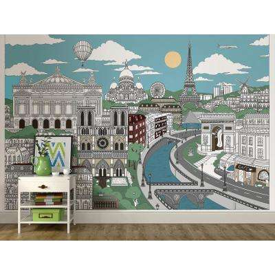 72 in. x 108 in. Visite Paris Coloring Wall Mural
