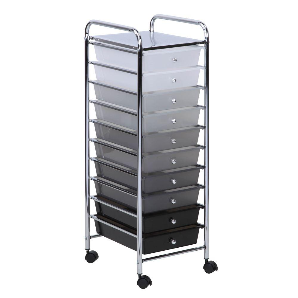 Gentil Honey Can Do 10 Drawer Rolling Storage Cart, Shaded