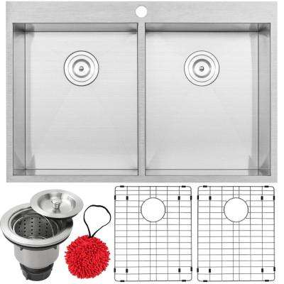 Arlo Zero Radius Drop-in 18-Gauge Stainless Steel 33 in. Double Bowl Kitchen Sink with Accessory Kit