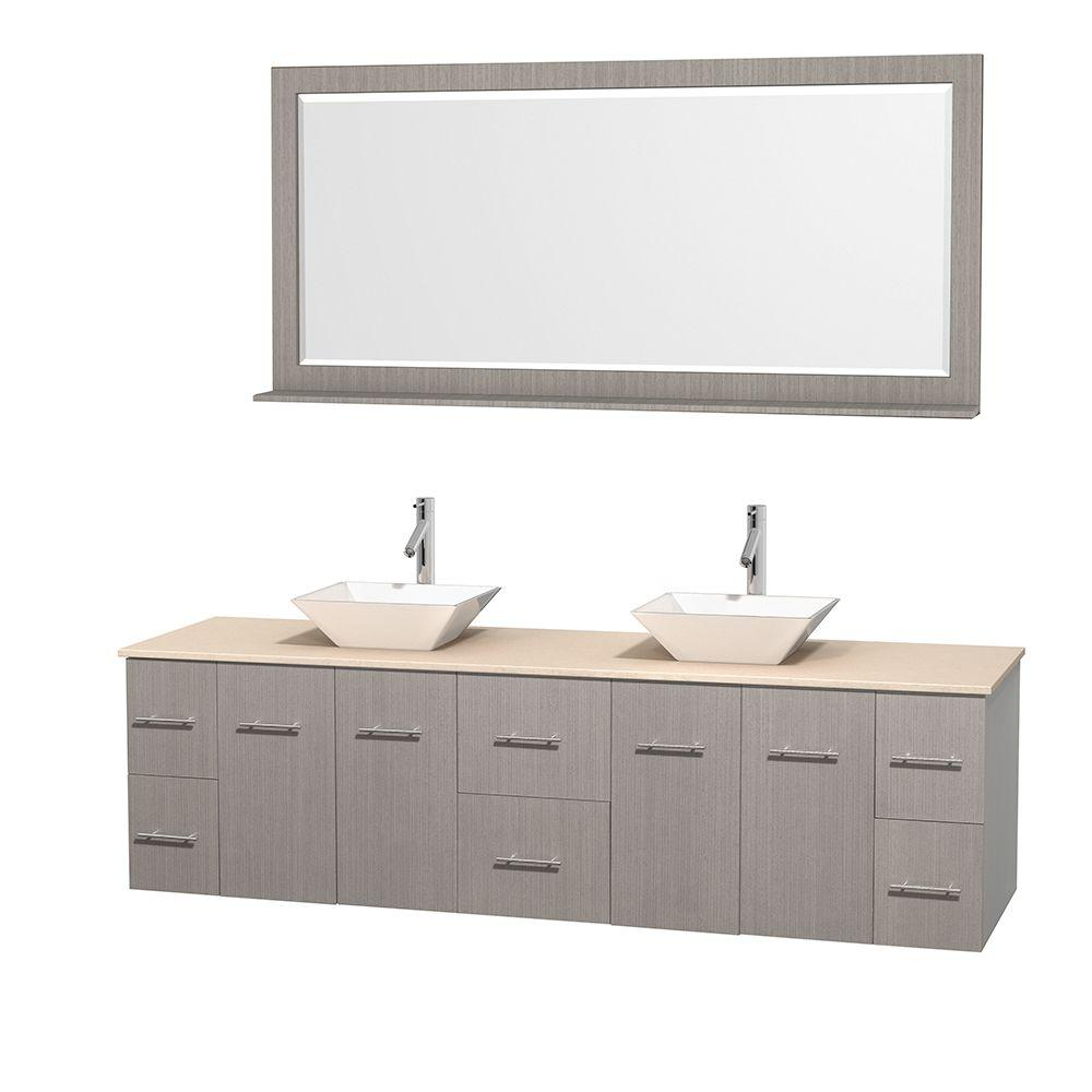Wyndham Collection Centra 80 in. Double Vanity in Gray Oak with Marble Vanity Top in Ivory, Porcelain Sinks and 70 in. Mirror