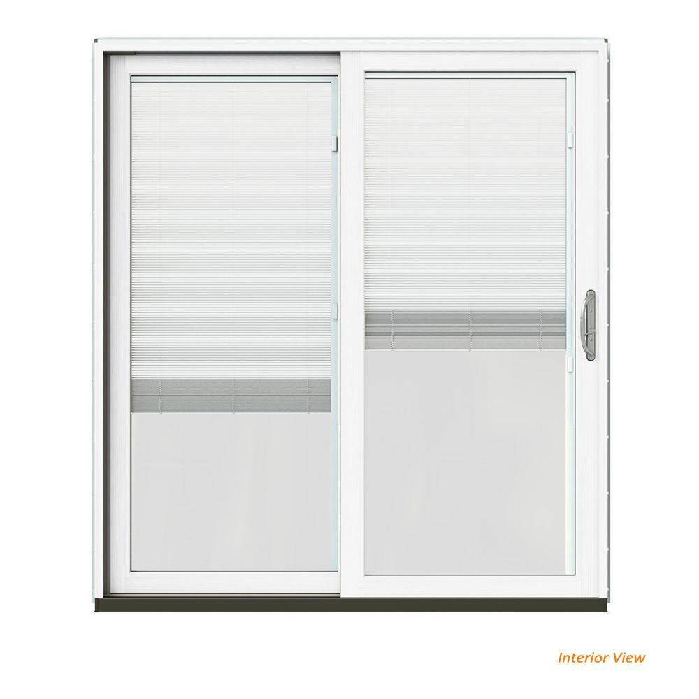 JELD-WEN 72 in. x 80 in. W-2500 Contemporary Black Clad Wood Left-Hand Full Lite Sliding Patio Door w/White Paint Interior,...