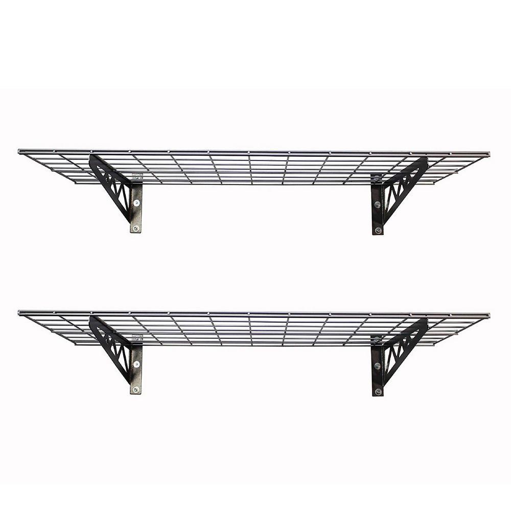 18 in. L x 48 in. W Black 8-Bike Garage Wall Shelf 2-Pack with Bike Tire Hooks in Gray